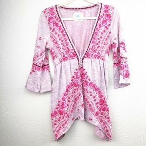 Free People Pink Floral Plunging Neckline Tunic